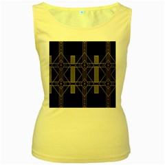 Simple Art Deco Style  Women s Yellow Tank Top