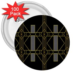 Simple Art Deco Style  3  Buttons (100 Pack)