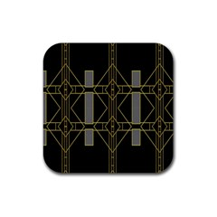 Simple Art Deco Style  Rubber Coaster (square)