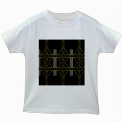 Simple Art Deco Style  Kids White T-Shirts