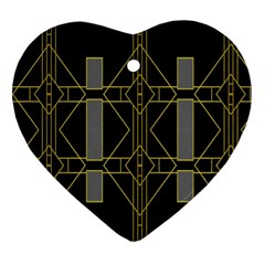 Simple Art Deco Style  Heart Ornament (Two Sides)