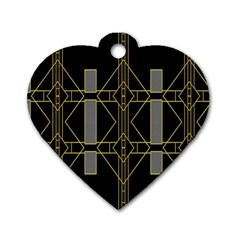 Simple Art Deco Style  Dog Tag Heart (two Sides)