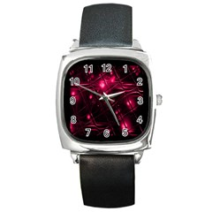Picture Of Love In Magenta Declaration Of Love Square Metal Watch