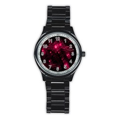 Picture Of Love In Magenta Declaration Of Love Stainless Steel Round Watch