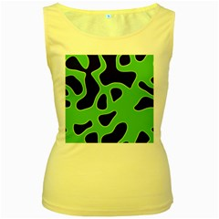 Black Green Abstract Shapes A Completely Seamless Tile Able Background Women s Yellow Tank Top
