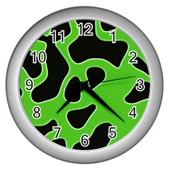 Black Green Abstract Shapes A Completely Seamless Tile Able Background Wall Clocks (Silver)