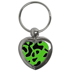 Black Green Abstract Shapes A Completely Seamless Tile Able Background Key Chains (heart)