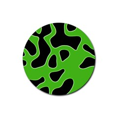 Black Green Abstract Shapes A Completely Seamless Tile Able Background Rubber Round Coaster (4 Pack)