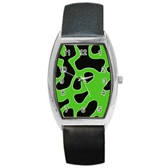 Black Green Abstract Shapes A Completely Seamless Tile Able Background Barrel Style Metal Watch