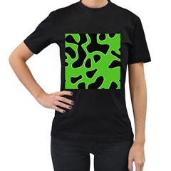 Black Green Abstract Shapes A Completely Seamless Tile Able Background Women s T Shirt (black) (two Sided)