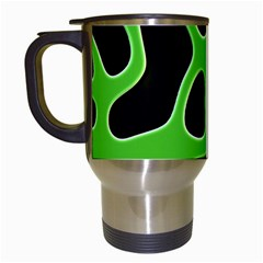 Black Green Abstract Shapes A Completely Seamless Tile Able Background Travel Mugs (White)