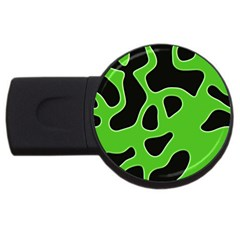 Black Green Abstract Shapes A Completely Seamless Tile Able Background Usb Flash Drive Round (4 Gb)