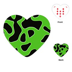 Black Green Abstract Shapes A Completely Seamless Tile Able Background Playing Cards (Heart)