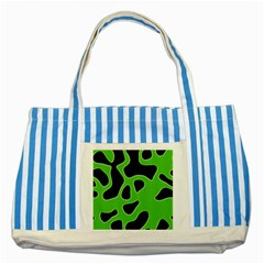 Black Green Abstract Shapes A Completely Seamless Tile Able Background Striped Blue Tote Bag