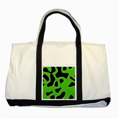 Black Green Abstract Shapes A Completely Seamless Tile Able Background Two Tone Tote Bag