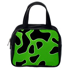 Black Green Abstract Shapes A Completely Seamless Tile Able Background Classic Handbags (one Side)