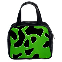 Black Green Abstract Shapes A Completely Seamless Tile Able Background Classic Handbags (2 Sides)