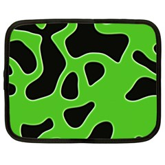 Black Green Abstract Shapes A Completely Seamless Tile Able Background Netbook Case (xl)