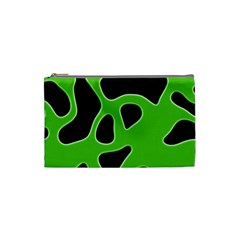 Black Green Abstract Shapes A Completely Seamless Tile Able Background Cosmetic Bag (small)