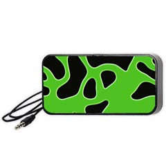 Black Green Abstract Shapes A Completely Seamless Tile Able Background Portable Speaker (black)