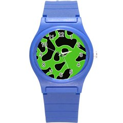 Black Green Abstract Shapes A Completely Seamless Tile Able Background Round Plastic Sport Watch (S)