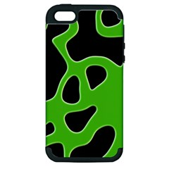 Black Green Abstract Shapes A Completely Seamless Tile Able Background Apple iPhone 5 Hardshell Case (PC+Silicone)