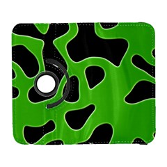 Black Green Abstract Shapes A Completely Seamless Tile Able Background Galaxy S3 (flip/folio)