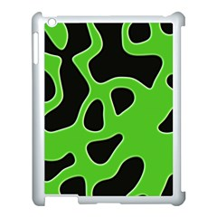 Black Green Abstract Shapes A Completely Seamless Tile Able Background Apple iPad 3/4 Case (White)