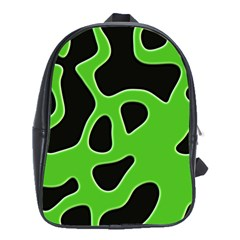 Black Green Abstract Shapes A Completely Seamless Tile Able Background School Bags (XL)