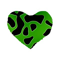 Black Green Abstract Shapes A Completely Seamless Tile Able Background Standard 16  Premium Heart Shape Cushions