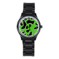 Black Green Abstract Shapes A Completely Seamless Tile Able Background Stainless Steel Round Watch