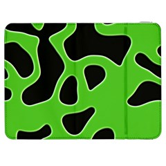 Black Green Abstract Shapes A Completely Seamless Tile Able Background Samsung Galaxy Tab 7  P1000 Flip Case