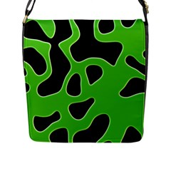 Black Green Abstract Shapes A Completely Seamless Tile Able Background Flap Messenger Bag (L)
