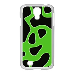 Black Green Abstract Shapes A Completely Seamless Tile Able Background Samsung GALAXY S4 I9500/ I9505 Case (White)