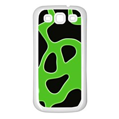 Black Green Abstract Shapes A Completely Seamless Tile Able Background Samsung Galaxy S3 Back Case (white)