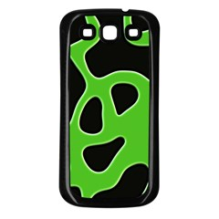 Black Green Abstract Shapes A Completely Seamless Tile Able Background Samsung Galaxy S3 Back Case (Black)