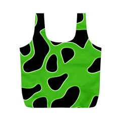 Black Green Abstract Shapes A Completely Seamless Tile Able Background Full Print Recycle Bags (M)
