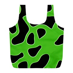 Black Green Abstract Shapes A Completely Seamless Tile Able Background Full Print Recycle Bags (L)