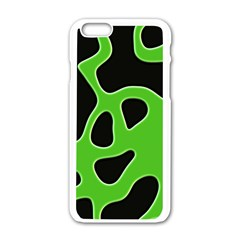 Black Green Abstract Shapes A Completely Seamless Tile Able Background Apple iPhone 6/6S White Enamel Case