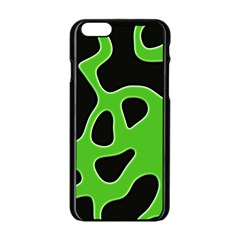 Black Green Abstract Shapes A Completely Seamless Tile Able Background Apple iPhone 6/6S Black Enamel Case