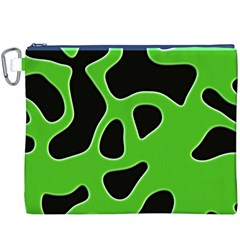 Black Green Abstract Shapes A Completely Seamless Tile Able Background Canvas Cosmetic Bag (XXXL)
