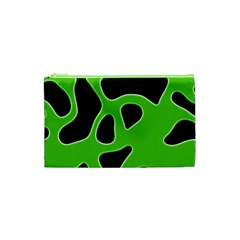 Black Green Abstract Shapes A Completely Seamless Tile Able Background Cosmetic Bag (XS)