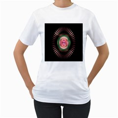 Fractal Plate Like Image In Pink Green And Other Colours Women s T Shirt (white) (two Sided)