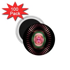 Fractal Plate Like Image In Pink Green And Other Colours 1 75  Magnets (100 Pack)