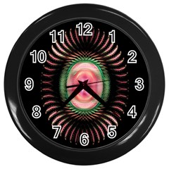 Fractal Plate Like Image In Pink Green And Other Colours Wall Clocks (black)