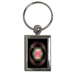 Fractal Plate Like Image In Pink Green And Other Colours Key Chains (Rectangle)