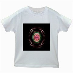 Fractal Plate Like Image In Pink Green And Other Colours Kids White T-Shirts