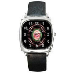 Fractal Plate Like Image In Pink Green And Other Colours Square Metal Watch