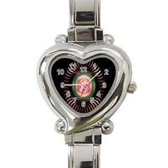 Fractal Plate Like Image In Pink Green And Other Colours Heart Italian Charm Watch