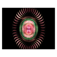 Fractal Plate Like Image In Pink Green And Other Colours Rectangular Jigsaw Puzzl